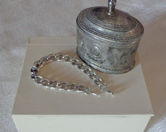 Heavy Silver Curb Link Bracelet, Mens Link Bracelet, Chunky Bracelet,Long Silver Bracelet,Heavy Mens Bracelet
