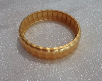 Sale Vintage Monet Gold Bangle,Heavy Gold Bangle, Satin Gold Bangle Bracelet