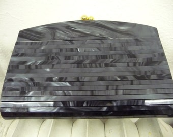 LUCITE handbag * 70's * Eames era * marbled grey * clutch with chain *