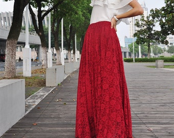 High Waist Maxi Lace Skirt Autumn Skirts Elegant Elastic Waist Spring Skirt Floor Length Long Skirt (038)