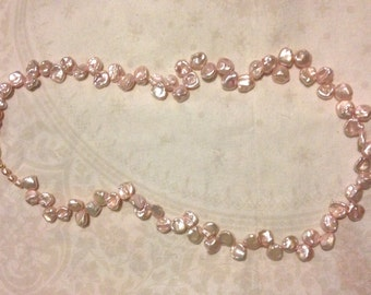 Pink Keshi Pearl Necklace with Gold Plated 925 Silver Toggle Clasp