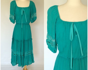 ON SALE Vintage 80s Roberta Blue Green Dress Peasant Boho Festival Ethnic