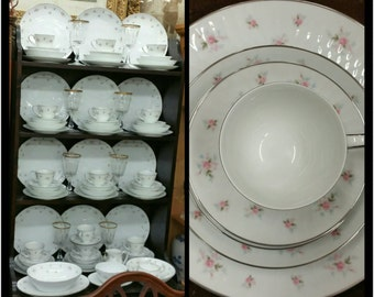 Vintage Noritake china set in the Mabel pattern (place setting for 12)