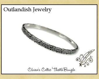 Claire's Celtic Thistle Bangle - Antiqued