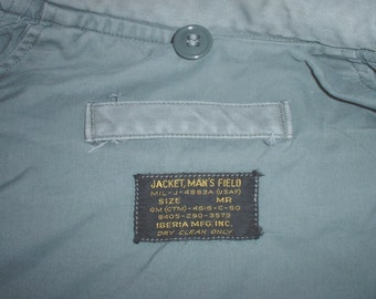 US Air Force Field Jacket; Medium-Regular; Iberia 1960 sage-green shade 509 GREAT condition!