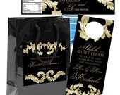 20 Gold Baroque Wedding Welcome Bag Sets with Bags, Water Bottle Labels, Door Hangers,  Welcome Bags, out of towner bag, Hospitality Bag