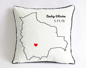 baby birth state pillowcase-unique new baby gift for boy-birthday gift for baby girl-long distance baby shower decor-1st birthday boy theme