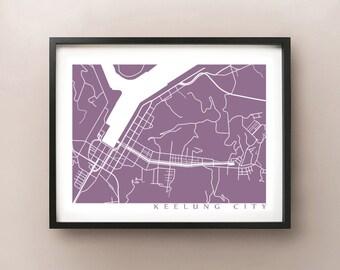 Keelung City Map Print - Taiwan Poster Art