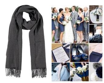 Dark grey pashmina scarf shawl / personalized initial shawl / bridesmaid shawl / wedding favor / spring summer wedding /