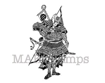 Samurai warrior rubber stamp / Japanese rubber stamp / Unmounted rubber stamp (150707)