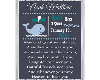Personalized Birth Announcement- whale