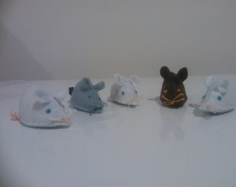 Felt Mice - Grey, Brown & White