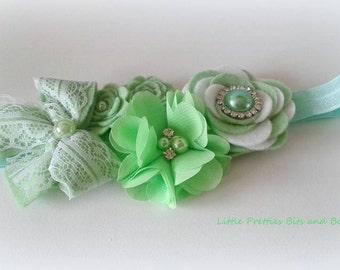 Green Flower Headband, 6-12 months headband, Baby headband, Pretty Headband, Soft Elastic Headband