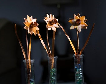 Hand Made Copper Daffodil