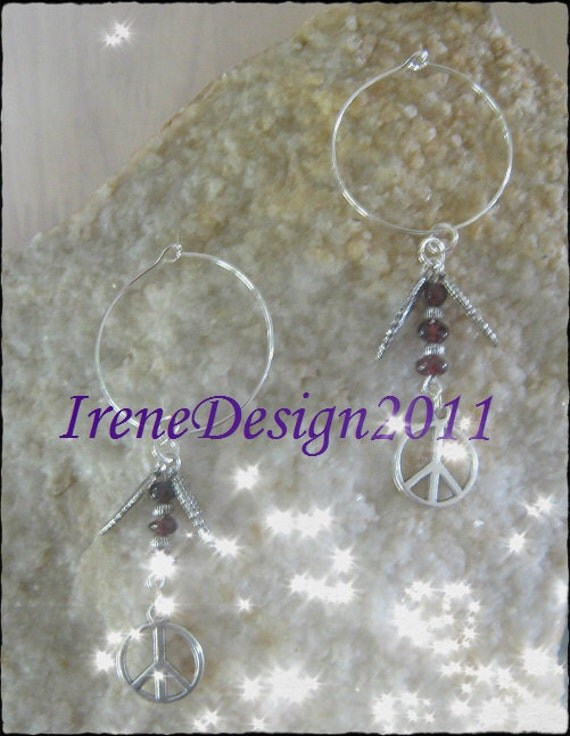 Handmade Silver Hoop Earrings with Garnet, Feathers & Peace by IreneDesign2011