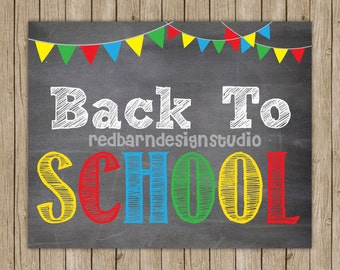 Back to School -8x10 PRINT- Can customize with colors and date