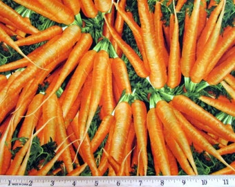 Per Yard, Realistic Vegetable Carrot Fabric