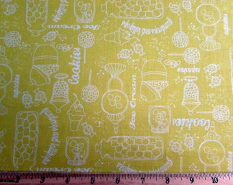 Per Yard, Gumdrops and Lollipops Yellow Fabric From Quilting Treasures
