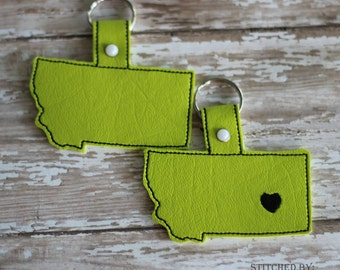 MONTANA Outline -  Heart for the City - In The Hoop - Snap/Rivet Key Fob - DIGITAL Embroidery Design