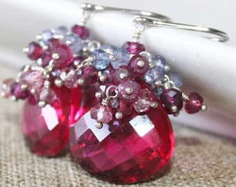 Red Quartz with Multi Gemstone Cluster Earrings, Sterling Silver, Wire Wrapped Jewelry