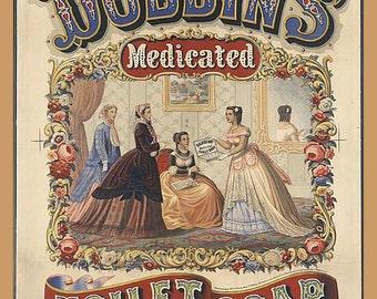 "Dobbins Medicated Soap, Toiletries 1800s  8x10""  Canvas art print pharmacy adverising"