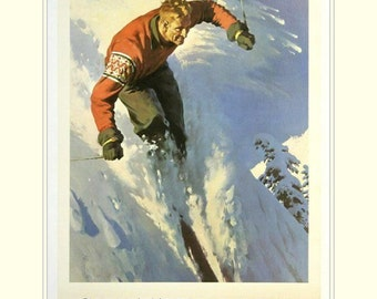 "Winter sports in Switzerland,  11 X 14""  canvas art print  skiing, winter sports"