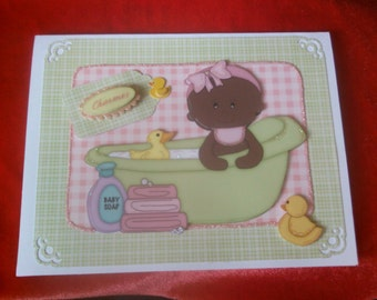 Handmade New baby girl greeting card