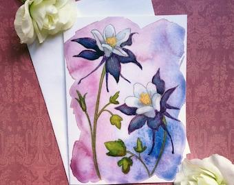 colorado columbine flower 5 x 7 inch blank greeting card and fine art print