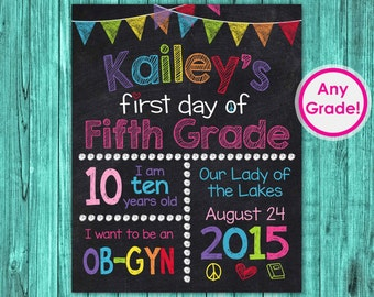 First Day of Fifth Grade Sign, First Day of 5th Grade Sign Chalkboard Printable, Personalized First Day of School Grade 4th Fourth 3rd Third