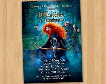 BRAVE Birthday Invitation, Brave Invitation, Personalized Printable Invite, Brave Merida Invitation, Princess Merida Brave Movie Party