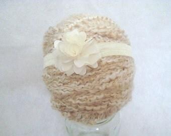 Small Cream Puff Flower Baby Headband Cute Photo Prop Or Everyday 14-15 Inch
