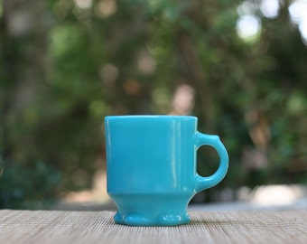Vintage Fire-King Turquoise Concord Mug / Anchor Hocking Fire-King Blue Concord Cup /Fire-King Concord Cup Scalloped Base