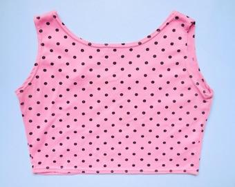 vintage 1990s pink polka dot crop top
