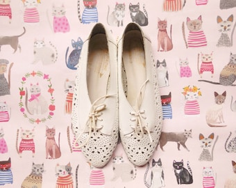 vintage white leather oxford flats size 7