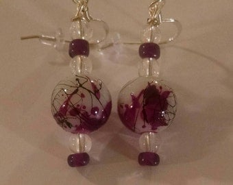 Purple Flowered Pattern Ball Earrings Item No. 70