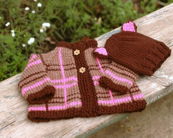 Soft Machine Washable Merino Plaid Baby Cardigan, Cocoa and Pink, with Teddy Bear Hat