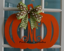 Monogram pumpkin door hanger pumpkin wreath Vine initial orange Halloween green burlap chevron polka dot single letter decor Made to Order