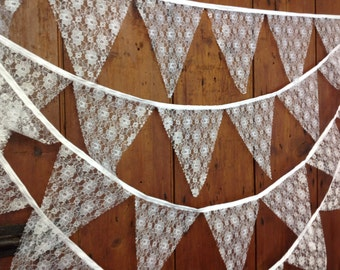 Vintage style Ivory Rosel Lace Wedding Bunting no gaps Style 34ft 10mts 58 Flags Wedding Bunting Banner Ivory Lace