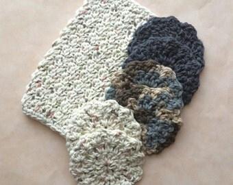 Crochet Washcloth and Spa Scrubbie Set, Crochet Gift Set, Handmade by KathysYarnCreations