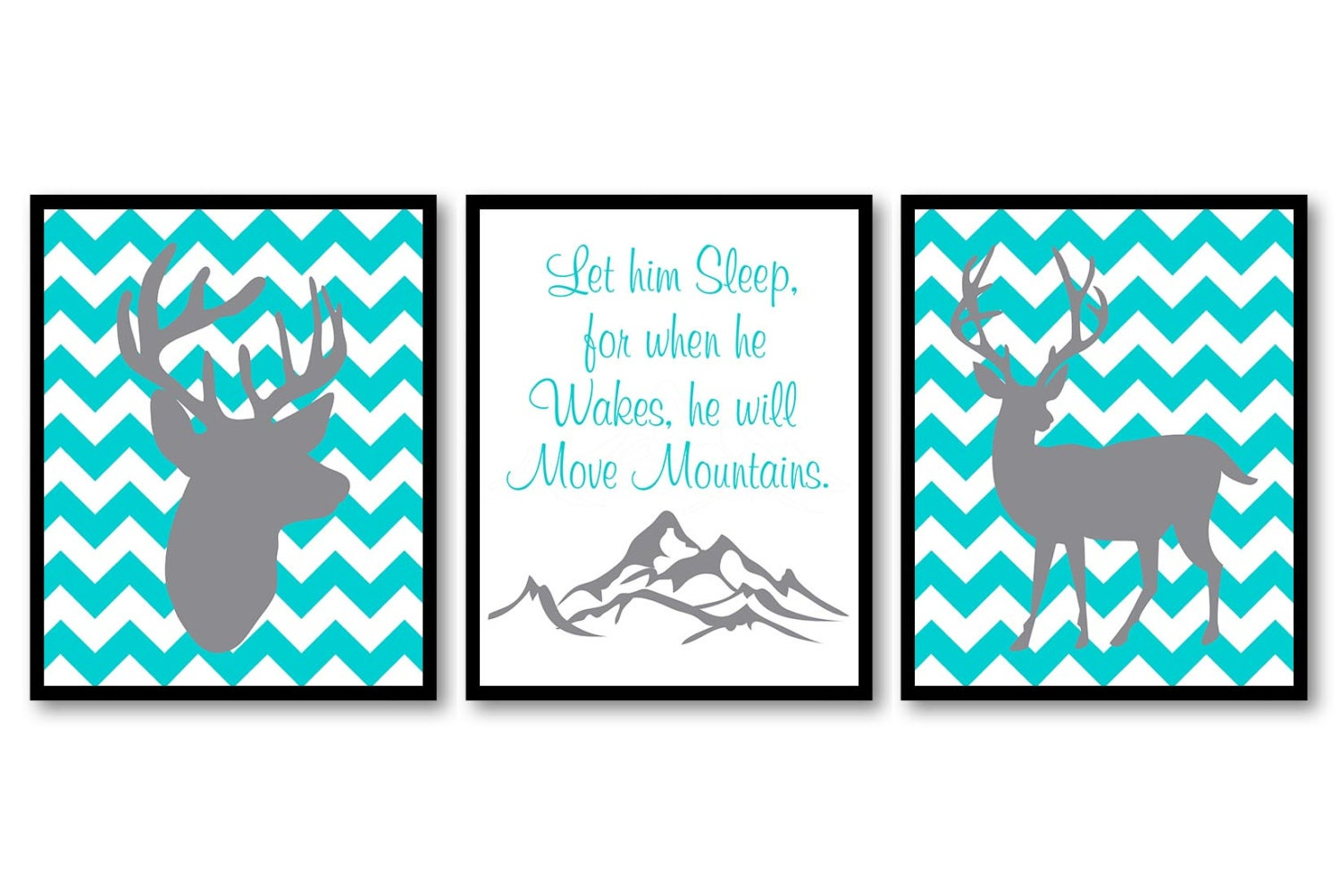 Deer Nursery Art Deer Head Prints Set of 3 He Will Move Mountains Blue Turquoise Grey Chevron Baby W
