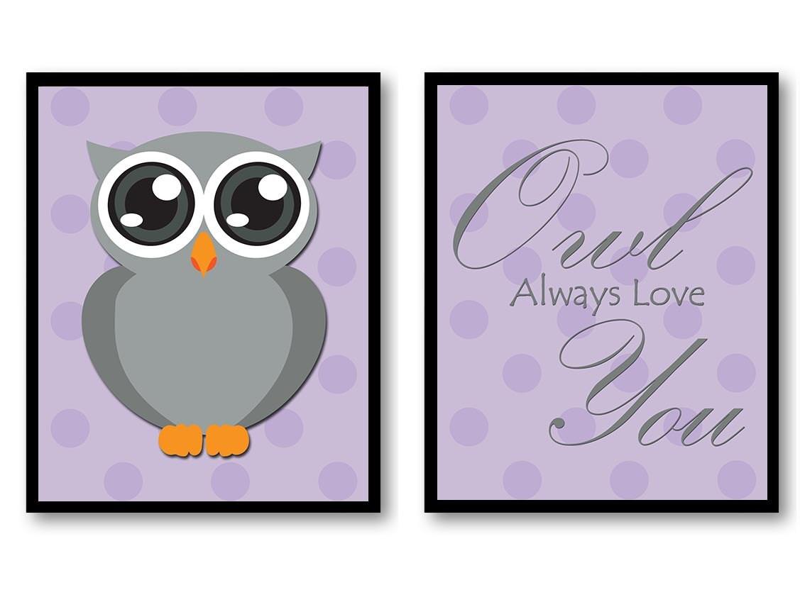 Owl Always Love You Nursery Art Nursery Print Set of 2 Polka Dots Purple Grey Child Prints Kids Room