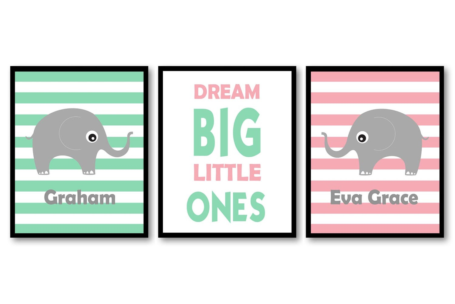 Mint Green Pink Grey Elephant Boy Girl Twins Nursery Art Print Dream Big Little Ones Personalized Na