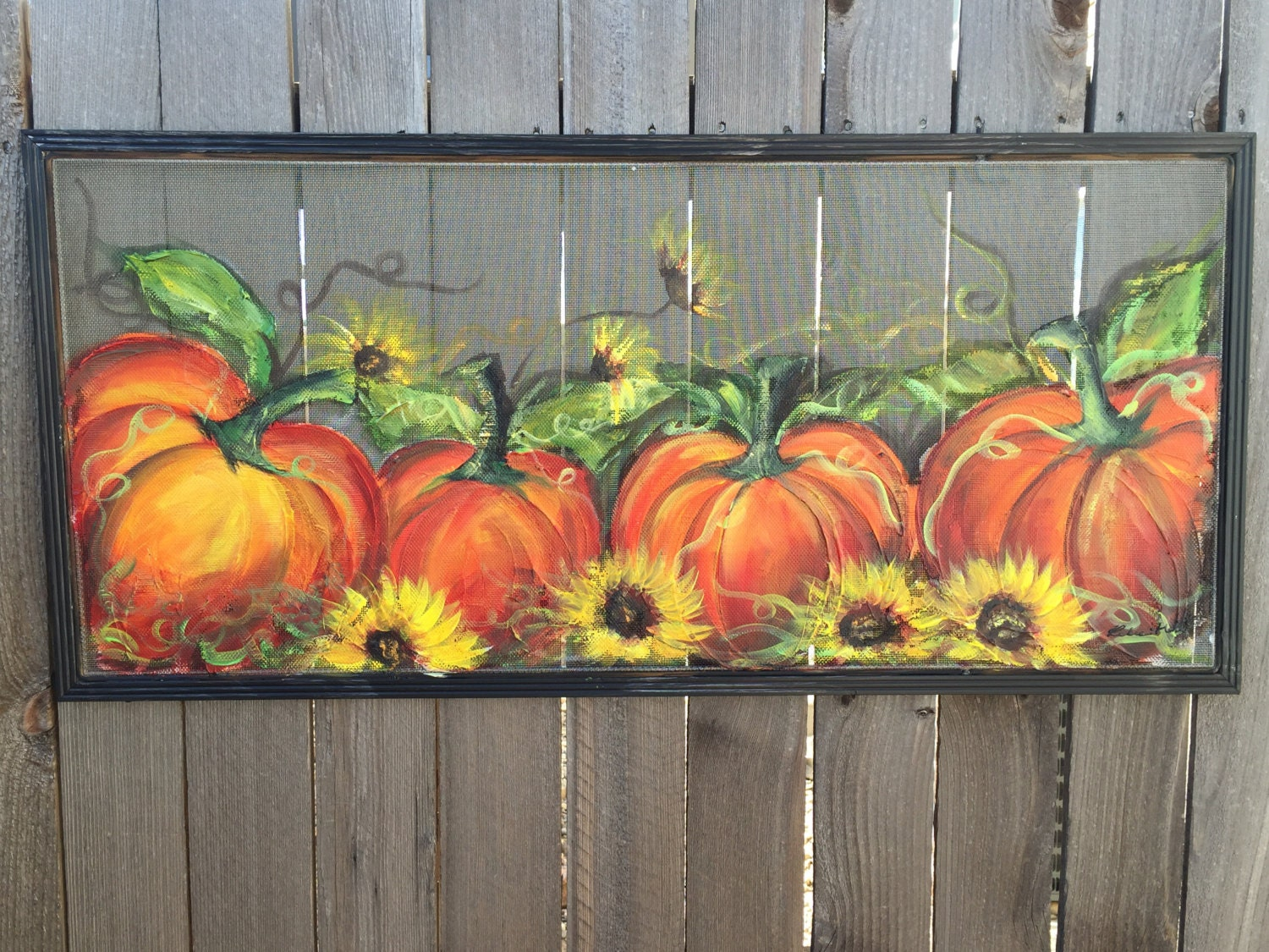 Fall Decormade To Order Pumpkin On Old Window By