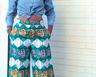 Wide leg pants, ankara pants, wax print pants, African print pants with pockets - The Chrissy Trouser
