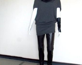 Gray Tunic Dress - Loose Jersey Tunic Women's Top Short Sleeved Tunic