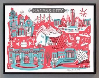 Wall Art-Kansas City-Art Print-You Choose Color-City Illustrations-10x8
