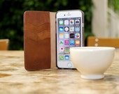 For Iphone 5 5S Book Cognac Brown Vintage Kavod Wallet - Italian Real Leather Cover Case - Credit Card ID Holder Retro FREE SHIPPING