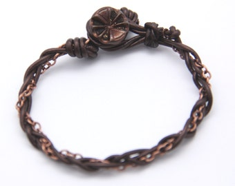 Bracelet, Victorian Metal Button Bronze Leather Cord Braided Copper Chain Friendship Bracelet, Artisan Designed & Handcrafted | MAE jewelry