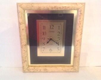 l980s - 90's wall clock Cannon Quartz gold foil faux light burled wood frame Arabic numbers 1-12