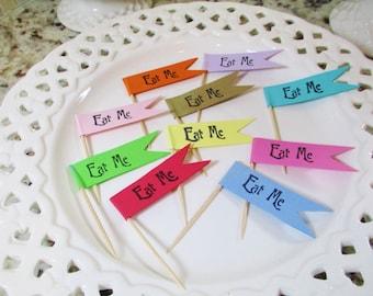Eat Me Party Food Picks, Flag Picks, Cupcake Picks, Cupcake Pick Topper, Cupcake Flag Picks